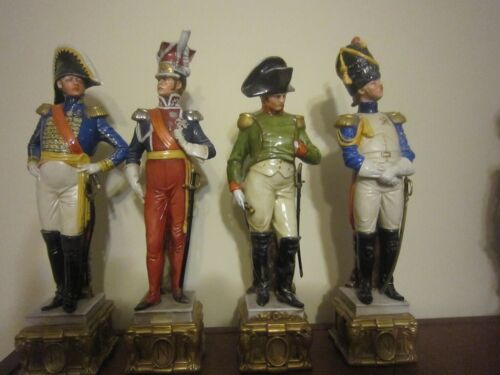 Set of 4 Capodimonte by Bruno Merli porcelain figurines - Napoleon & 3 Soldiers