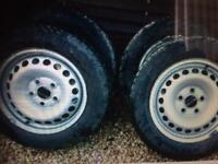 VW Transporter 4 steel wheels and tyres plus covers for sale