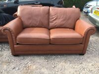 Leather Tan Four Piece Sofa & Large Foot Stool