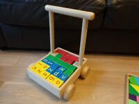 Wooden Baby Walker with colour blocks