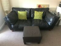 Clean Leather Style 3 Seater Sofa and Footstool