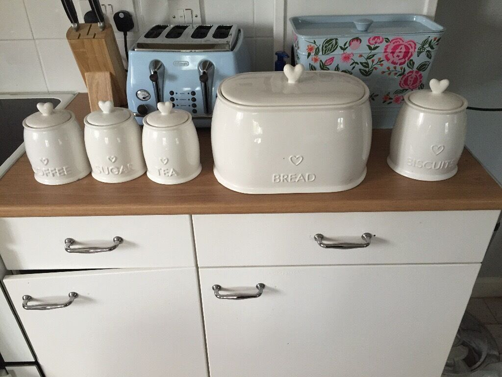 Tea Coffee Sugar Bread Bin And Matching Biscuit Barrel