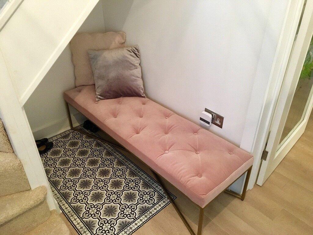 Julianne tufted ottoman bench in blush pink velvet brass as new