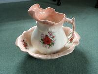 Pretty antique Victorian wash bowl and jug