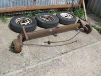 1 ton braked alko trailer axle wit wheels