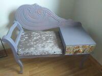 Upcycled beautiful vintage shabby chic telephone seat