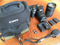 Canon 1100D digital DSLR with Lenses, bag, spare battery and Sandisc 16gb card.
