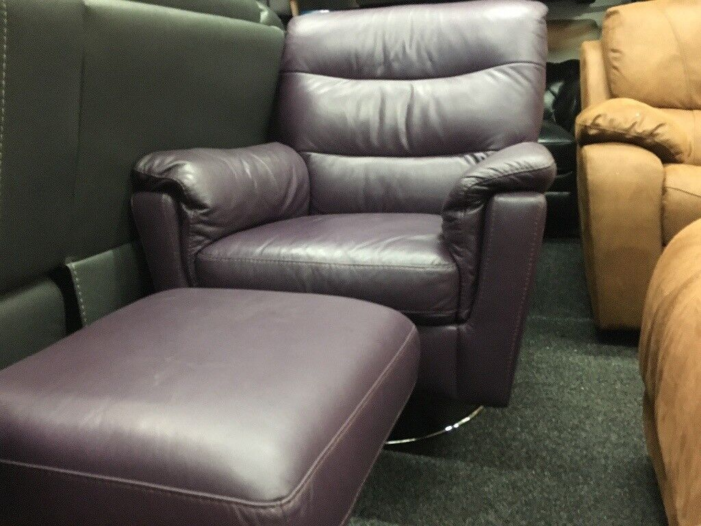 New/Ex Display Leather Avi Relaxer Chair & Footstool (avaialble in BLACK, BROWN, CREAM)