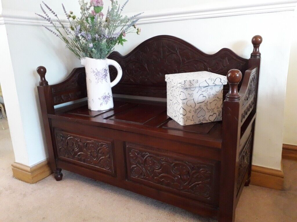 Terrific Ornately Carved Vintage Storage Monks Bench Church Pew Settle Hall Seat In Shirley West Midlands Gumtree Lamtechconsult Wood Chair Design Ideas Lamtechconsultcom