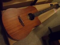 tanglewood electro acoustics solid mahogany top dreadnought and parlour