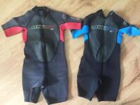 O'Neill kids shorty wetsuits x 2
