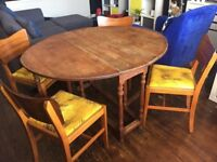 Mid Century Drop Leaf Table with x4 chairs - retro, vintage, antique, rustic