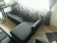 Black corner sofa & 2 seater