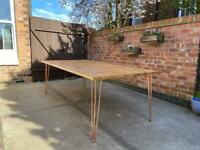 Scaffold board dining table / desk - hand crafted from reclaimed wood with hairpin legs