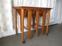 VINTAGE TEAK COFFEE TABLE WITH THREE SIDE TABLES INSET SET OF FOUR TABLES