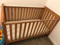 Wooden Cot Bed, Cot Top Changer and Mattress