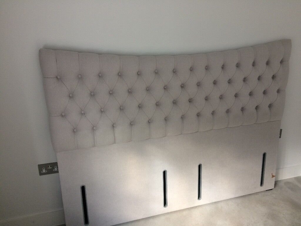 Hypnos Super King Size Headboard Grey Faux Suede Padded New Unused
