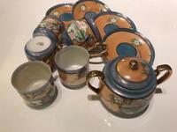 Japanese Tea/Coffee Set with Milk Jug and Lidded Sugar Bowl