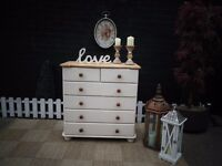 SOLID PINE LARGE CHEST OF DRAWERS 4+2 DRAWERS PAINTED WITH LAURA ASHLEY CREAM COLOUR