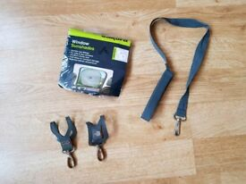 John Lewis pram pushchair clips and safety leads. Car window twin sunshades brand new