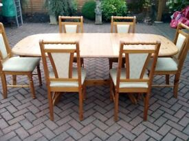 Extending Pine Table plus six chairs