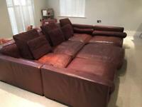 Brown leather HUGE sofa