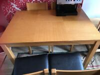 dinning table set 4 chairs good condition good wood £60
