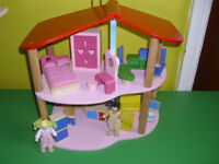 CHILD'S SOLID WOODEN DOLLS HOUSE AND FURNITURE