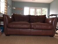 John Lewis Brown leather sofa - 3 seater
