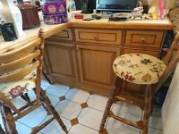 Wooden Kitchen Stools (Four)