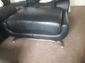 Black leather 2 seater sofa, chair and pouffe