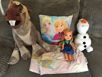 Frozen single bedding, pillow, teddies and doll £15