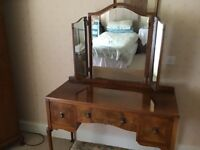 Walnut double wardrobe with fitted interior, Tallboy ,Dressing table with triple mirror and stool