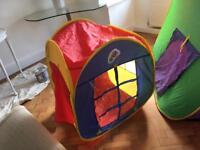 Foldable pop up tent and tunnel