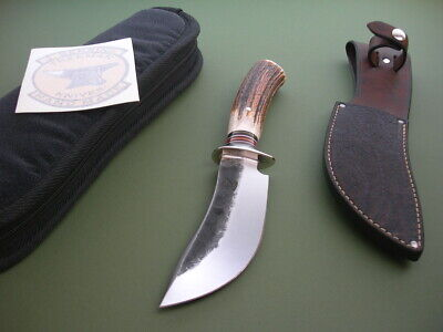 JIM BEHRING TREEMAN KNIFE / 5.75 RUANA STYLE SKINNER / A+ STAG / CUSTOM SHEATH