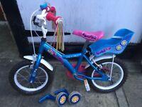 """14"""" girls bike with stabilisers"""