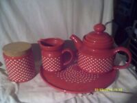 A VERY LARGE RED TEAPOT on a TRAY with JUGS , POTS & DISHES +++ LOTS OF CHINA FOR ?