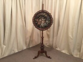Antique Victorian Mahogany Embroidered Fire Screen