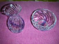 Caithness Scottish Lead Crystal Flamenco Design Footed Bowl and Daisy Vase