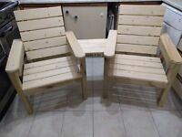 Jack & Jill outdoor twin chairs, handmade, brand new, ready to be painted/stained