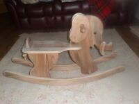Hand crafted wooden elephant rocker.