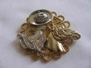 Rhinestone Western Brooch Pin With Horse Saddle & Hat Mint