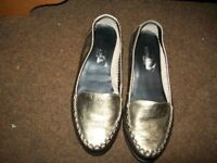 Footglove wider fit goldy/metallic colour soft shoes. Size 3.5. Hardly worn.
