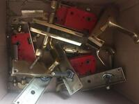 Box of solid brass locks door handles and bits