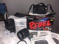 Canon EOS Rebel T3i / 600D - DSLR - 2 lens, books, CD and Original boxes.