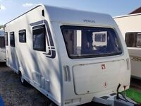 2012 Lunar Venus 500 4 Berth Fixed Single Beds End Washroom Caravan with Porch Awning