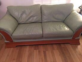 Green leather sofa 3+2+1seater and puffy