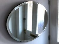 Large Rustic Antique Oval Mirror
