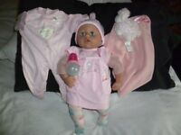 Baby Anabell interactive doll + bottle, spare suit and blanket/musical shhep - Shipley