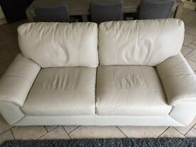 Cream Leather 3 seater sofa & matching armchair